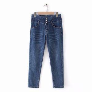 Plus Size Casual Jeans 2019 Autumn Women Fashion Loose Stretch denim Ankle-Length Pants F31-x8141