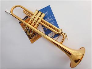 Nueva Alta calidad TR-190GS chapado en oro Bb Trompeta B plana Profesional Instrumentos Musicales Brass Bugle Trompete Envío Gratis