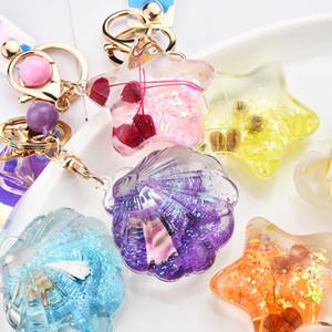 Creative Starfish Shell Star Glitter Key Chain Quicksand Keychain Liquid Keyring Backpack Pendant Gift for Women