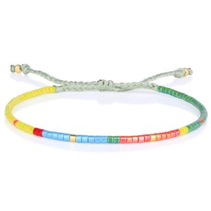 KELITCH Delicate Adjustable Multi-color Miyuki Seed Beaded Bracelets for Women Woven Braided String Wrap Cuff Bangles