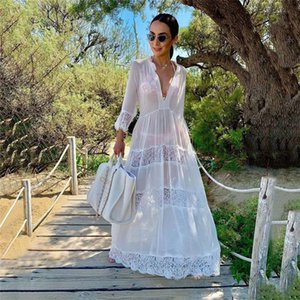 2020 Swimwear Cover-ups Sexy V-neck Summer Beach Dress White Lace Cotton Tunic Women Plus Size Beachwear Swim Suit Cover Up Q988
