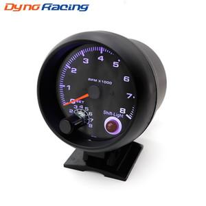 """Tacómetro 3 3/4"""" Color Negro calibre 0-8000 rpm con cambio de luz entre metro LED azul de coches de carreras metros"""
