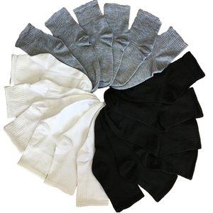 Schwarz, Grau, Weiß Socken Mann-Socken Herren-Baumwollelastizität Business Long Mannschaft Herbst-Winter-warme Meias Homens 10pcs 5pair / lot