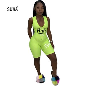 SUWA Hot Sale Summer Classic Streetwear Women Letter Print Zip Skinng Short Jumpsuit Sexy Lady Sleveless Playsuit 4 Color