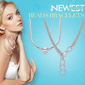 Cadena de joyería de los pares alta calidad más nueva de las mujeres de los hombres Hombre Mujer 45 CM 925 encanto de plata esterlina collar de serpiente Fit Pandora