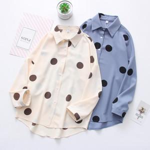 Daily Apparel Female 2019 Fashion Casual Shirt Top Korean Spring Long Sleeve Polka Dot Print Chiffon Blue Khaki Blouse for Women