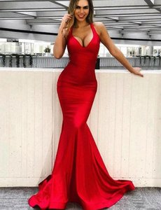Sexy Mermaid Red Prom Dresses High Quality V Neck Evening Dresses Sweep Train Maid of Honor