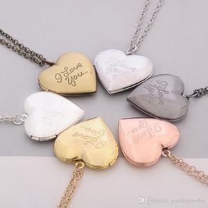 Heiße Verkaufsaussagehalsketten Anhänger des hängenden Halsketten des handgemachten Foto-Kastens ich liebe dich Herz Medaillonhalsketten freies Verschiffen
