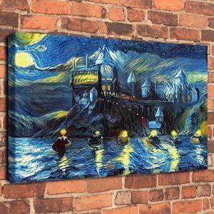 Van Gogh Harry Potter Castelo noite Barcos pintado à mão HD impressão pintura a óleo sobre tela Wall Art Canvas Pictures 190916