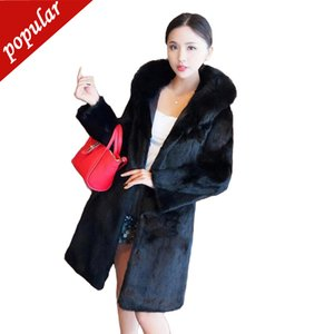 Winter Women Medium Long Artificial Fox Fur Coats Hooded Fox Fur Collar Outterwear Outterwear Plus Size 5xl 6xl Black W1141