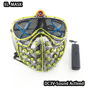 EL Halloween Rivets Death Scary Mask Masquerade Party Masks Neon Led Purge Mask Cosplay Costumes Glow Party Supplies Free Shipping