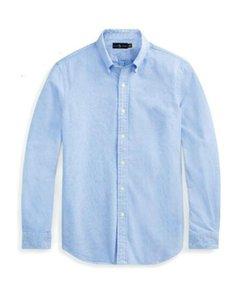 lauren ralph polo Ralph lauren Мужчины Высокое качество маленькая лошадь вышивки рубашки поло с длинным рукавом сплошной цвет Slim Fit Повседневный Business Men Рубашки одежда