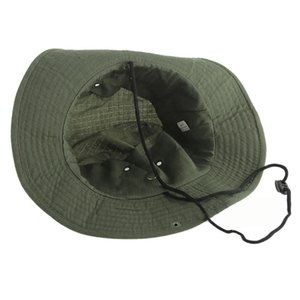 Wide Brim Bucket Hat Fishing Camping Sunshade Hat Army Green Traveling Hiking Bonnie Hat With Adjustable Straps Mens Sports Caps