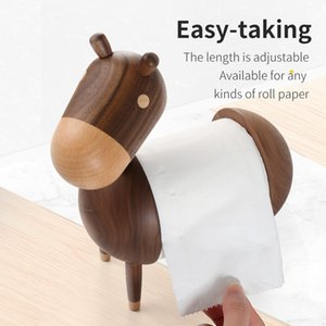 YUSOTAN cute animal tissue holder for for Home Office Desktop available for all kinds of roll paper home Wooden Paper Towel Box