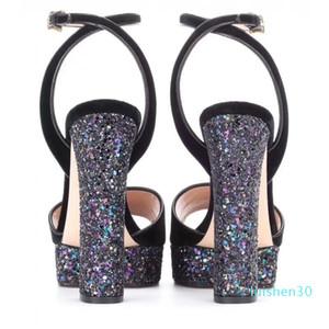 Новое прибытие 2020 Дизайнер Маленькие Пчелы Блеск Высокие платформы каблуки обуви ремень овчины дамы сандалии AL30