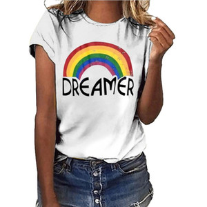Hillbilly DRE AMER Women Harajuku Fashion Graphic Rainbow T Shirts Cotton Aesthetics Tops Tees Playeras De Mujer De Moda 2020