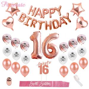 Patimate С Днем Рождения партия Декоры Дети взрослых шестнадцатый День рождения Воздушные шары Сладкие 16 партия Декоры 16 Birthday Party Благоприятная фестиваль