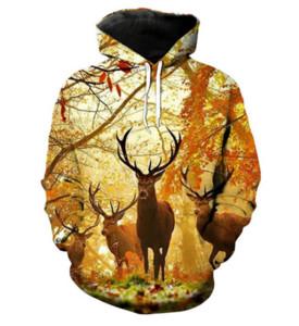 Hot Fashion Men / Women Harajuku Style Forest Deer Pocket Hoodies con capucha Impresión 3D Unisex Tops Al por mayor y al por menor RW0135