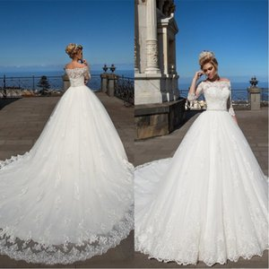 2020 Bola Bateau elegante vestido de casamento vestidos de renda apliques 3 4 manga comprida Sheer Jewel baratos Sexy Tamanho do casamento vestido de noiva A-Line Plus