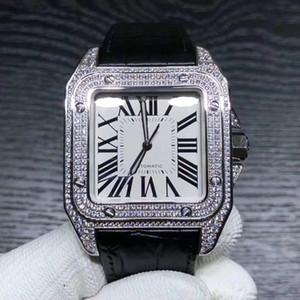 Nuevo estilo Movimiento automático Plaza 100 Relojes Hombres Full Diamond White Dial Banda de cuero real Reloj masculino Montre Homme