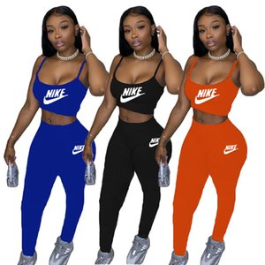 Women Brand Tracksuit casual 2 piece sets sports jogger suit sleeveless crop top+long leggings summer solid color outfits plus size 3442