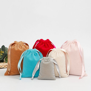 Jewelry Packaging Christmas Wedding Gift Bags Party Favors Packing Bag Pouch Velvet Beaded Drawstring Pouches