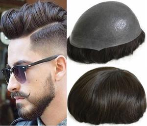 Silicone parrucca Hairpieces Mens diritto PU completa Toupee sottile pelle di ricambio parrucchino europea Virgin capelli umani parrucca per trasporto libero degli uomini