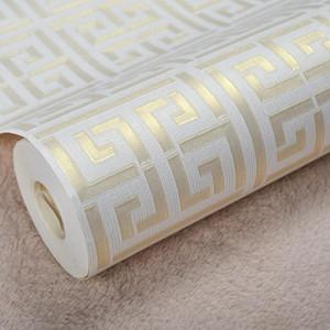 Carta da parati moderna contemporanea geometrica design Wall Paper PVC neutro chiave greca per Camera 0.53m x 10m Rotolo oro su bianco