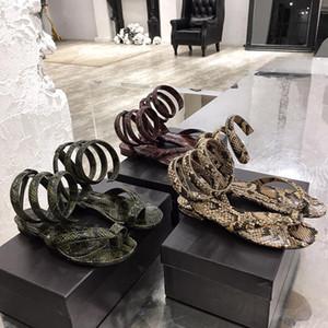 Designer infradito pitone stampato a spirale sandali cinturino alla caviglia 2020 scarpe dal design di lusso piane nuova spirale di vibrazione dei sandali estate flops