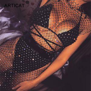 Articat Crystal Diamond Mesh Сексуальное обтягивающее платье Женщины Выдалбливают Ажурные Летнее пляжное платье до колен Прозрачный Вечеринка Vestidos Y19052901