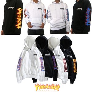 Hoodies for men and women cotton classic arm flame letter hooded sweater fashion plus velvet casual hip hop pullover factory direct sales