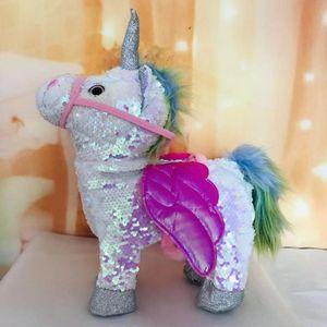 1pc Electric Walking Unicorn Plush Toy Stuffed Animal Toy Electronic Music Unicorn Toy for Children Christmas Gifts 35cm