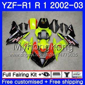 Cuerpo para YAMAHA YZF1000 YZFR1 YZFR1 2002 2003 Carrocería 237HM51 YZF1000 YZF-R1 02 Marco YZF1000 YZFR1 02 03 Carenado neon fluorescente amarillo