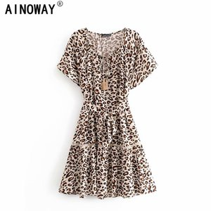 Vintage chic women leopard print V-neck Bohemian mini dress Ladies batwing sleeve lace tassel sashes Boho dresses vestidos