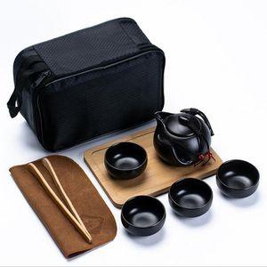 Kung Fu chino juego de té de cerámica portátil de la tetera El Recorrido al aire libre gaiwan tazas de té de la taza de té ceremonia del té fino regalo