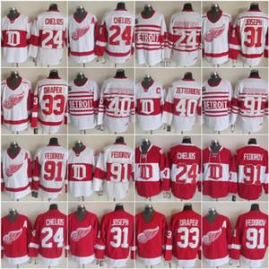 Detroit 24 Chris Chelios Red Wings Jersey 33 Kris Draper 31 Curtis Joseph 14 Brendan Shanahan 40 Henrik Zetterberg 91 Sergei Fedoro Vintage