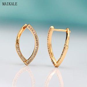 MAIKALE Cute Geometric Zircon Stud Earrings for Women Cubic Zirconia Earring Oval Shape Alloy Clip on Earing Korean Jewelry
