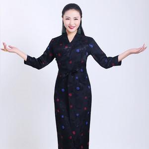 Boutique de alta calidad del traje étnico tibetano vestido bordado de tres cuartos de manga trajes de Tíbet Robe Can por encargo Negro Azul Verde