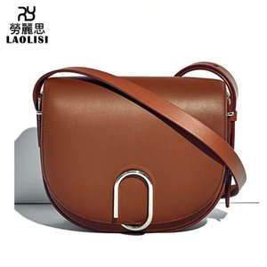 Lucky2019 Woman Demeanour Saddle Genuine Leather Women's Paper Clip Single Shoulder Span Package