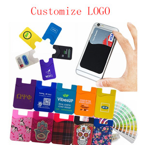 Fashion Phone Silicone Card Set Universal Ultra Slim Soft Card Pocket For iPhone XS Max Sumsung S10 Cellphone Credit Card Holder