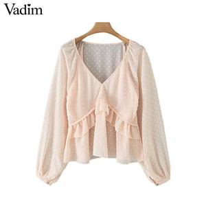 Vadim women dots design ruffled blouse V neck long lantern sleeve shirt female casual elegant chic solid tops blusas LB378 T200320