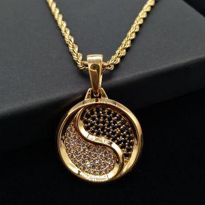 Nova moda ouro 18k e branco banhado a ouro Tai Chi Symbol Rodada cadeia pingente de colar para fora congelado CZ Zirconia jóias presentes para homens e mulheres
