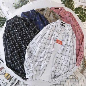 BOXDAQ Yeni Erkek Ekose Baskı Gömlek Uzun Kollu Yaka Boyun Harajuku Gömlek Erkek Kore Sürüm Hırka Günlük Moda Gömlek