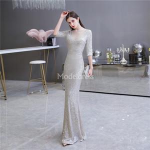 Sliver Denizkızı Gelinlik Modelleri ile Yarım Kollu payetli Sweep Tren Örgün Parti Abiye Giyim Parlak Özel Durum Elbise Modern vestidos