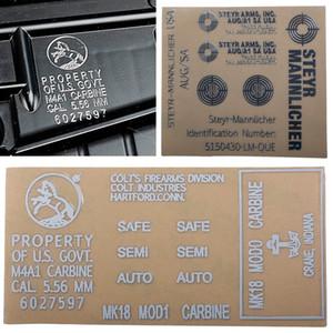 Im Freien taktischen Metall-Aufkleber DIY Wasserdichte Aufkleber Dekoration Aufkleber für HK416 ACR MP7 P90 M4 August