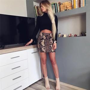 Для женщин дизайнер змеиной печати Юбки Мода Natural Color Юбки Sexy-Line Короткие юбки Повседневные Женская одежда