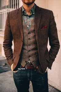 2019 Custom Made Groom Wear Dark Brown Vintage Herringbone Tweed Vest para o casamento Plus Size Rustic