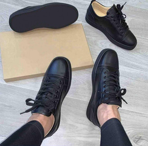 Fashion Men Women Red Bottom Shoes Studded Spikes Flat Sneakers Glitter Party Wedding Shoes Black White Leather Trainers EU47
