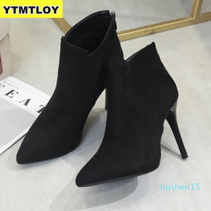 New Women High Heel Booties Large Fashion Female High-Heeled Boots Young Ladies 10 cm Ankle Boots Winter Zapatos De Mujer l15