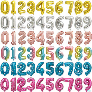 16inch Number 0-9 Balloons Foil Balloon Gold Pink Blue Gradient Color Digital Globos Wedding Birthday Party Decoration Supplies DBC BH3686